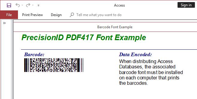 PrecisionID PDF417 Barcode Fonts 2018