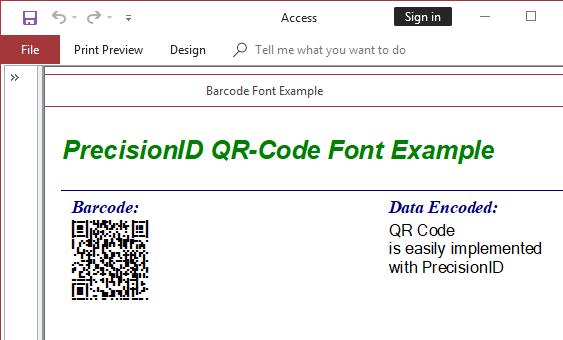 PrecisionID QR-Code Barcode Fonts 2018