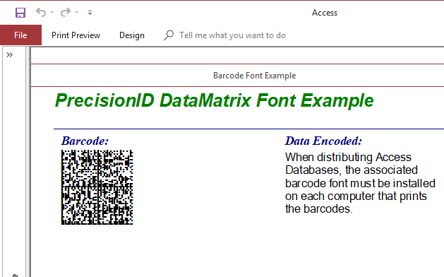 PrecisionID Data Matrix Barcode Fonts