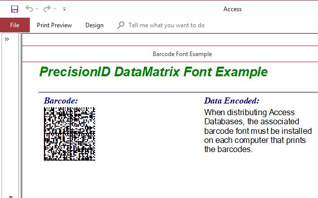 Precision Data Matrix 2D Barcode Fonts